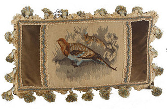 Small Quails Aubusson Pillow