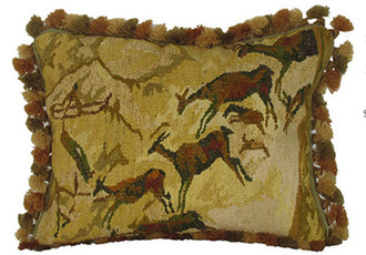 Deer Cave Art Aubusson Pillow