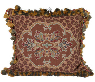 Leopard Aubusson Pillow in Brown