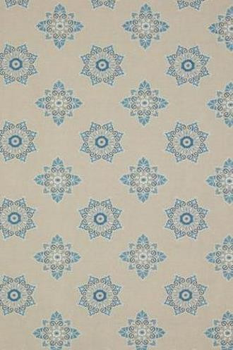 Ballos Embroidered Snowflake Fabric in Bleu (Jane Churchill)