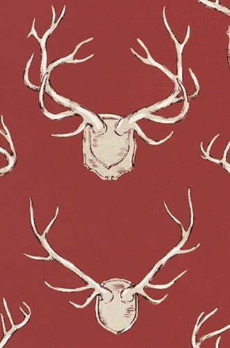 Antlers Fabric in Red (Eric Cohler Lodge Collection)