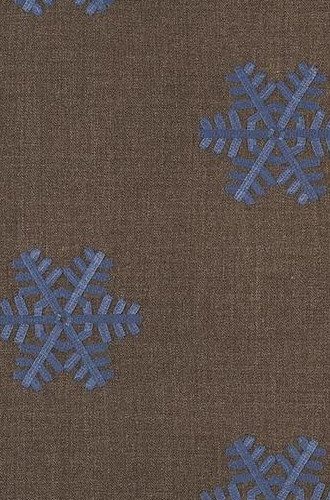 Rondoy Fabric in Blue On Brown (Casamance)