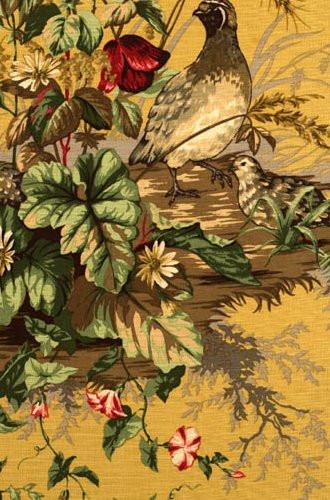 Edwin's Covey Woodland Fabric in Mustard (Scalamandre)