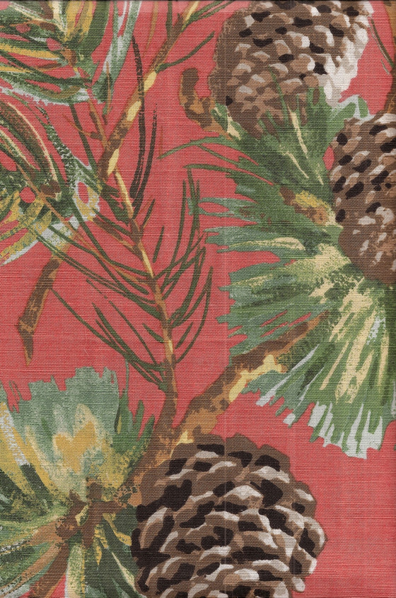 Rustic Fabric For Cabins Pine Cones Amp Boughs In Salmon