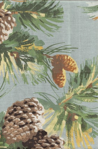Rustic Fabric For Cabins Pine Cones Amp Boughs In Blue