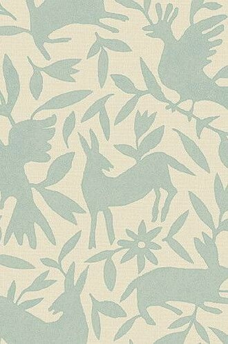 Flora & Fauna Linen Fabric in Aqua (Kerry Joyce)