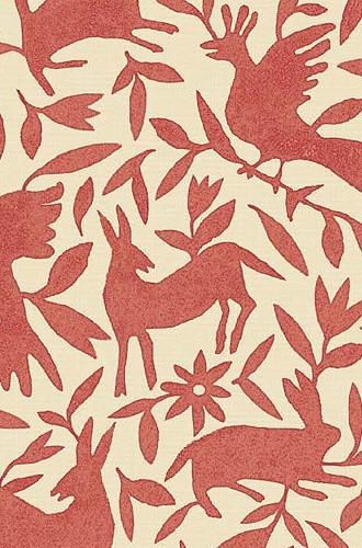 Flora & Fauna Linen Fabric in Pimento (Kerry Joyce)