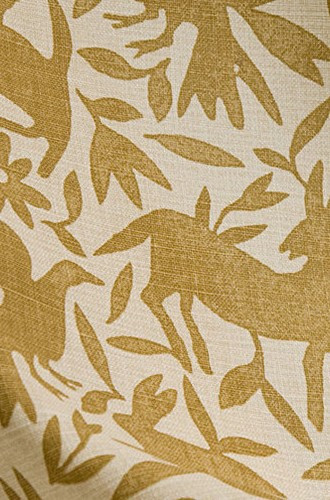 Flora & Fauna Linen Fabric in Deep Ochre (Kerry Joyce)