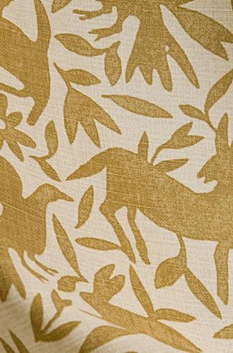Flora & Fauna Linen Fabric in Deep Ochre (Kerry Joyce)