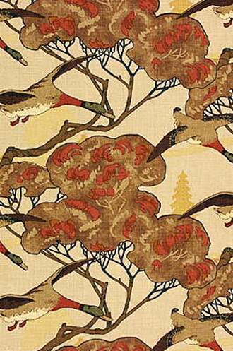 Flying Ducks Fabric in Stone/Brown (By Mulberry Home in England)