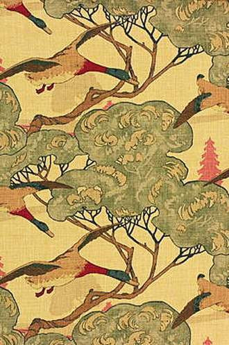 Flying Ducks Fabric in Camel/Grey (By Mulberry Home in England)