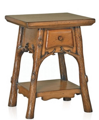 Alpine Meadows Hand-Carved Side Table