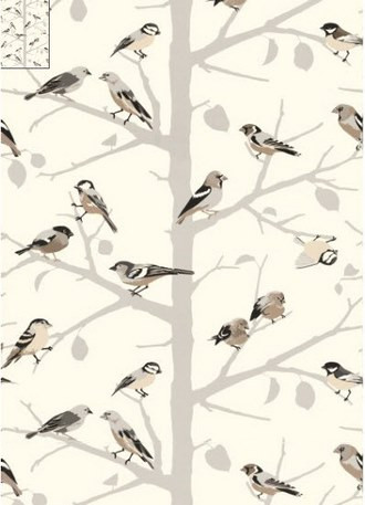 A-Twitter Songbirds Wallpaper in Winter (Schumacher)