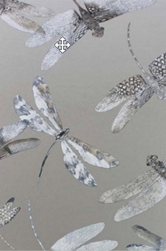 Dragonfly Dance Wallpaper in Metallic Silver (Osborne & Little)