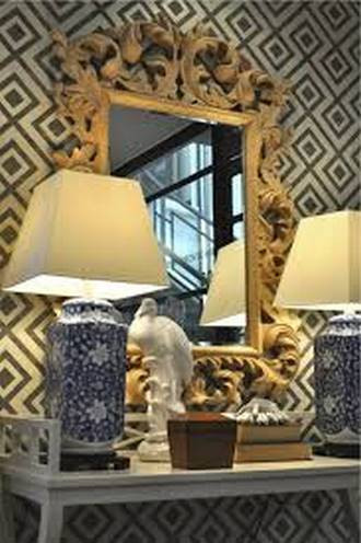 Fiorentina Geometric Grasscloth Wallpaper in Black and Cream (David Hicks)