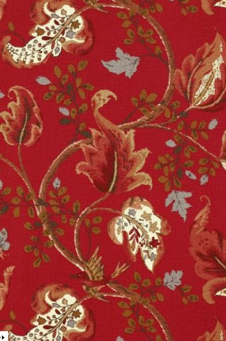 Fox Hollow Wallpaper in Tomato and Brass (Schumacher)