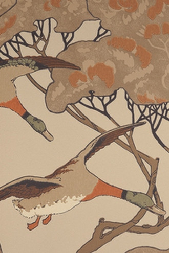 Flying Ducks Wallpaper in Stone (By Mulberry Home in England)