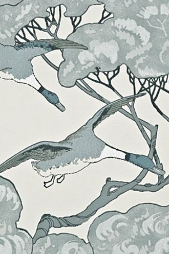 Flying Ducks Wallpaper in Aqua (By Mulberry Home in England)