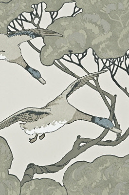 Flying Ducks Wallpaper in Silver Taupe (By Mulberry Home in England)