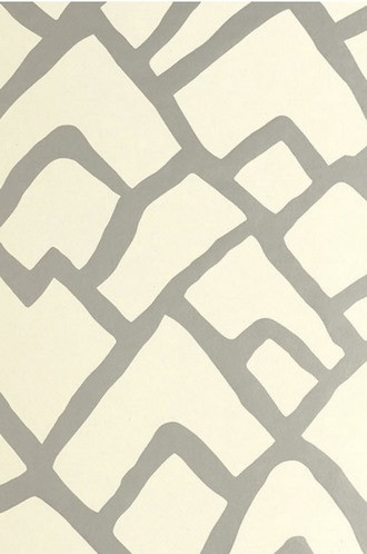 Zimba ZigZag Wallpaper in Silver (Schumacher)