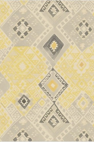 Kilim Geometric Wallpaper in Sahara (Quercus & Co.)