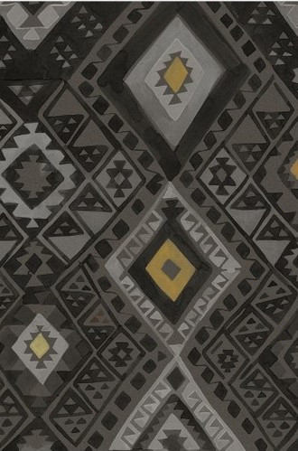 Kilim Geometric Wallpaper in Midnight (Quercus & Co.)