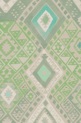 Kilim Geometric Wallpaper in Emerald (Quercus & Co.)