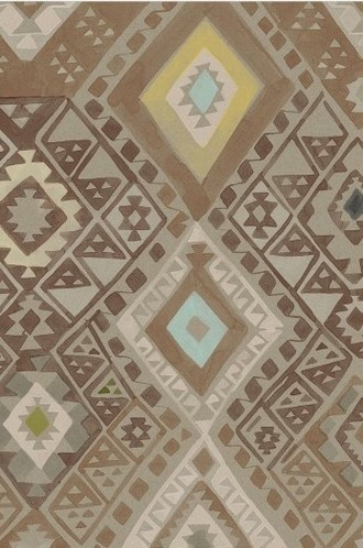 Kilim Geometric Wallpaper in Camel (Quercus & Co.)