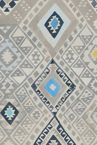 Kilim Geometric Wallpaper in Caspian (Quercus & Co.)