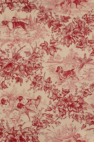 On-Point Hunting Dog Fabric in Red (Brunschwig & Fils)