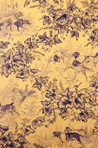 On-Point Hunting Dog Fabric in Blue (Brunschwig & Fils)