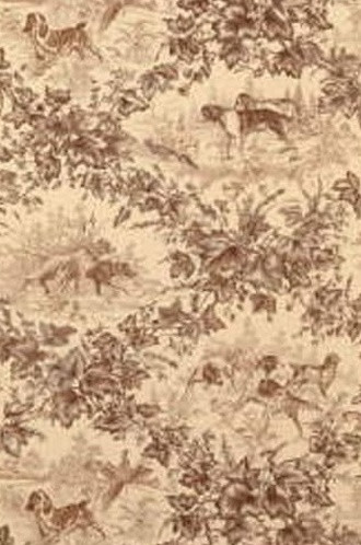 On-Point Hunting Dog Fabric in Tobacco (Brunschwig & Fils)