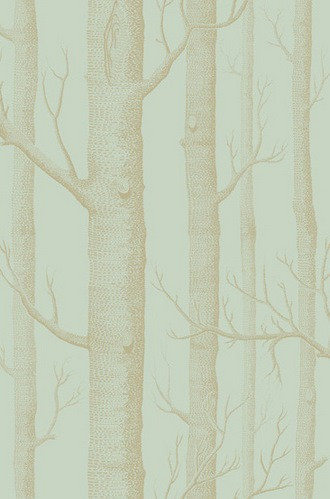 Woods Wallpaper in Green & Gold