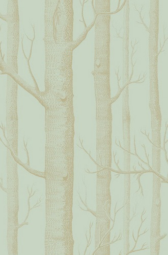 Woods Wallpaper in Green and Gold
