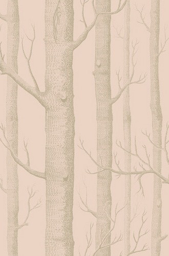 Woods Wallpaper in Pink and Gilver