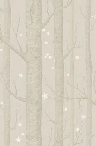 Woods and Stars Wallpaper in Grey