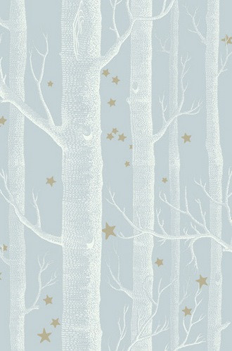 Woods and Stars Wallpaper in Powder Blue