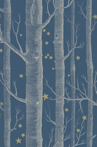 Woods and Stars Wallpaper in Midnight