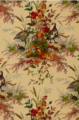 Quail Meadow Fabric in Summer (Schumacher)