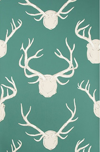 Antlers Wallpaper in Teal (Eric Cohler Lodge Collection)