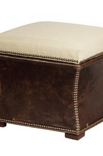 Claire Ottoman With Leather Sides & Flip Top