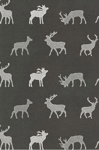 Caribou Embroidery Fabric in Charcoal
