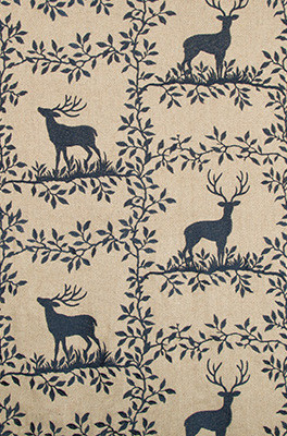 Caribou Embroidery Fabric in Navy