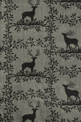 Caribou Embroidery Fabric in Black