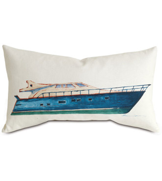 Vintage Boat Hand-Painted Pillow