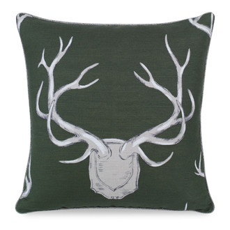 Antlers Pillow in Hunter Green