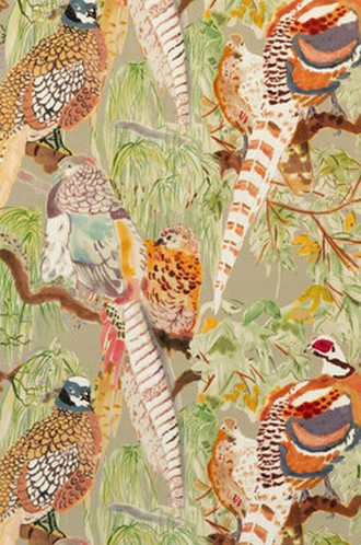 Game Birds Velvet Fabric in Stone Multi