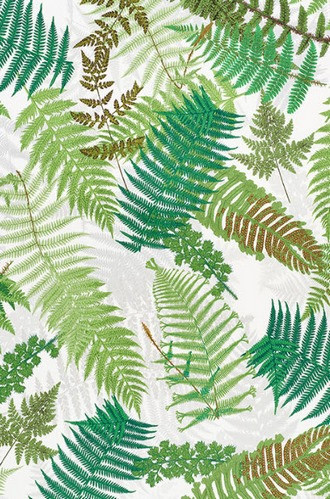 Fernarium Fabric in Green & Ivory