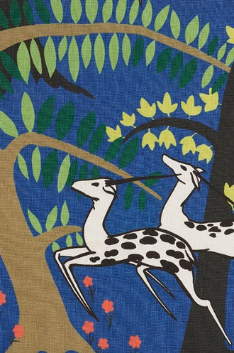 Antelopes Fabric in Cobalt