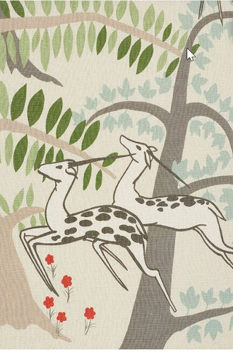 Antelopes Fabric in Ivory